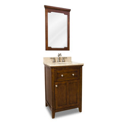 "Distressed Shaker Vanity Set, Brown, Dual Drawer - This set consists of 24"" wide solid wood vanity with shaker door, preassembled marble top, and matching beveled glass wood framed mirror. Vanity includes a top drawer and spacious cabinet with an adjustable shelf. Drawer features solid wood dovetailed box and soft-close slides and cabinet features soft-close hinges. Vanity comes preassembled with a 2.5cm Emperador Light marble top with 4"" tall backsplash, 15""x12"" bowl, and cut for 8"" faucet spread."