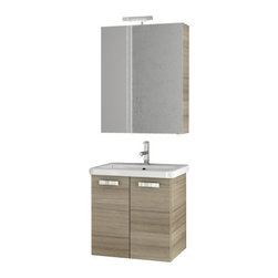 ACF - 22 Inch Larch Canapa Bathroom Vanity Set - Made in engineered wood and mirrored glass and ceramic and finished in larch canapa.