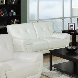 Monarch Specialties - Monarch Specialties Modern White Bonded Leather / Match Loveseat - This modern white bonded leather love seat will make a wonderful addition to your living room. Its contemporary shape enhances any room with  its plush back, box seat cushions and slightly angled lines. The stitching and button tufted design enhances the look of this love seat, while still offering you ample room. The chic design creates an inviting feel, and solid feet provide sturdy support this piece. It is also a perfect match with the chair and sofa.