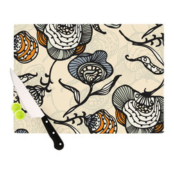 """Kess InHouse - Gill Eggleston """"Future Nouveau"""" Tan Floral Cutting Board (11.5"""" x 15.75"""") - These sturdy tempered glass cutting boards will make everything you chop look like a Dutch painting. Perfect the art of cooking with your KESS InHouse unique art cutting board. Go for patterns or painted, either way this non-skid, dishwasher safe cutting board is perfect for preparing any artistic dinner or serving. Cut, chop, serve or frame, all of these unique cutting boards are gorgeous."""
