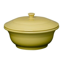 Fiesta Sunflower Covered Casserole 70 oz. - About FiestaAmerica's favorite dinnerware line, Fiesta was introduced by the Homer Laughlin China Company in 1936. Available in plenty of bright, vibrant colors and unique shapes, Fiesta dinnerware and serveware features Art Deco-style concentric rings. Made from durable, restaurant-quality ceramic and finished in lead- and cadmium-free glazes, this line of kitchenware is easy to mix and match to create your own custom set. Best of all, each piece is microwave- and oven-safe, and dishwasher-safe for easy cleanup.