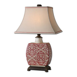Uttermost - Uttermost Lindsa Ivory Table Lamp 27473 - Antiqued ivory ceramic with red details and chocolate bronze accents. The rectangle bell shade is an antiqued ivory linen fabric with red trim.