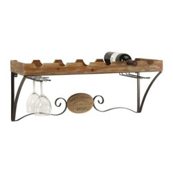 Old World Tuscan Napa Valley Wine Shelf - *This traditional wine shelf gives any room a sense of Tuscany. It holds six bottles of wine as well as four wine glasses.