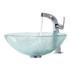 Kraus - Kraus Crackle Glass Vessel Sink and Typhon Faucet - Add a touch of elegance to your bathroom with a glass sink combo from Kraus.