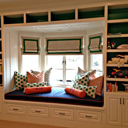 Shades/Blinds - Roman shade and cushion furnish and installed by Kite's Interiors