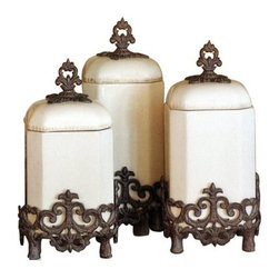 """GG Collection - Provencial Kitchen Canisters-Set of 3 - Provencial Kitchen Canisters Dimensions: (Sm) 7""""w x 7""""d x 14""""h (Md) 7""""w x 7""""d x 15""""h (Lg) 7""""w x 7""""d x 16""""h Provencial Canister - Cream Ceramic with Brown Metal Base, Care: Ceramic is dishwasher safe, but recommend to handwash oversized pieces and metal, in mild soap and dry with a soft cloth"""