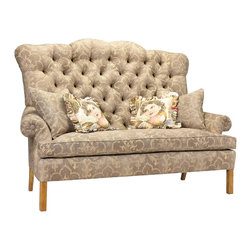 French Heritage - D'Artagnan Sofa - A sofa with all of the personality and chic that is associated with French style.  The bench made piece features a kiln-dried hardwood frame, 8-way hand tied construction, and a hand tufted-back, as well as, spring down cushion.  Sofa ships As-Shown.