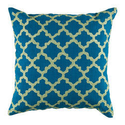 "Peacock Blue Lime Green Graphic Design 18"" x 18"" Pillow  Set of 2 - *18"" x 18"" Pillow with Hidden Zipper"