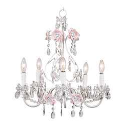 Jubilee Collection - Flower Garden Chandelier Pink and White - Gorgeous handmade 5 arm Flower Garden Chandelier with crystal drop pendants, featured in pink and white. This 5-arm chandelier from Jubilee Collection is beautifully handcrafted and truly one-of-a-kind. Illuminate a nursery or brighten up a kids room, playroom or bathroom and let this charming chandelier be your cherry on top. Chandeliers accommodate up to 45 watt bulbs without shades and up to 25 watt bulbs with shades. Adding unique lighting from Jubilee Collection to your kids room or nursery is an easy way to make your space truly glamorous. Offering kids light fixtures, such as chandeliers, wall sconces and lamps, and other fun accessories in a variety of fun colors makes putting the finishing touch on an already stunning kids space a piece of cake! Select a gorgeous pre-designed masterpiece or create your own custom lighting to make your space truly personalized.by Jubilee Collection