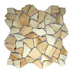 "CNK Tile - Sandstone Mosaic Tile - Each pebble is carefully selected and hand-sorted according to color, size and shape in order to ensure the highest quality pebble tile available.  The stones are attached to a sturdy mesh backing using non-toxic, environmentally safe glue.  Because of the unique pattern in which our tile is created they fit together seamlessly when installed so you can't tell where one tile ends and the next begins!     Usage:    Shower floor, bathroom floor, general flooring, backsplashes, swimming pools, patios, fireplaces and more.  Interior & exterior. Commercial & residential.     Details:    Sheet Backing: Mesh   Sheet Dimensions: 12"" x 12""   Pebble size: Approx 3/4"" to 2 1/2""   Thickness: Approx 1/2""   Finish: Sandstone Natural"