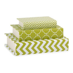 "IMAX - Essentials Book Boxes - Green - These book boxes, part ofeethe Gr n Apple collection from Essentials by Connie Post, are perfect for storing small items on a desk or shelf, and their bold patterns and color are a striking addition to your decor. Item Dimensions: (8-10.5-12.5""h x 5-6.75-8.75""w x 1.75-2.25-2.75"")"