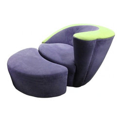 ecofirstart - Armchair and Ottoman by Vladimir Kagan - Midcentury modern innovation and shapeliness are perfectly captured in this armchair and ottoman, originally designed by Vladimir Kagan in the 1960's. This updated version, made from sustainable, organic materials, features a swivel function to the chair, and casters on the  ottoman, for ease of movement. The lavender cotton felt upholstery will add luxe style to your decor, especially with the lime stripe of fabric along the top of the chair.