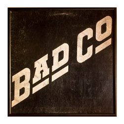 """Glittered Bad Co. Album - Glittered record album. Album is framed in a black 12x12"""" square frame with front and back cover and clips holding the record in place on the back. Album covers are original vintage covers."""