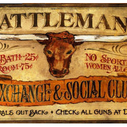 Red Horse Signs - Cattleman's  Vintage Western Signs  Wood Sign - Cattleman's  Exchange  and  Social  Club  Vintage  Sign          Give  your  vintage  western  decor  an  extra  boost  with  our  Cattleman's  primitive  sign.  Available  in  2  sizes,  choose  from  14x24  and  20x35,  then  customize  for  a  truly  unique  sign  with  an  aged  weathered  look  and  appeal.  Printed  directly  to  distressed  wood.  Purchase  sign  as  is,  or  make  changes  to  the  text  by  requesting  new  wording  in  the  box  provided.  Original  sign  reads,  Cattleman's  Exchange  &  Social  Club.  Hot  Bath  -  25  cents,  Room  -75  cents.  No  sporting  women  allowed.  Corrals  out  back,  check  all  guns  at  door.  Please  allow  up  to  3  weeks  for  shipping.