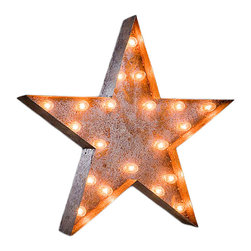 Vintage Marquee Lights - Vintage Marquee Lights Star Vintage Marquee Light - Star Vintage Marquee LightTurn up the lights to find your design spark! With the Star Vintage Marquee Light, you can enjoy whimsical, eclectic-chic style. This light is made from distressed, rusted metal and is shaped into a star. It has an authentic look, as if it were truly plucked from a salvage yard or taken off of an old business sign. Stand it up on a high shelf, or mount it on your wall as vintage-inspired art. You can use it to add some dazzle to any space or let it make your home a true design star. After all, when you wish upon a star...Light can hang or stand upComes with two sets of bulbsAssembly requiredUp to four lights can be linked together