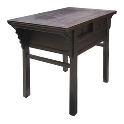 Golden Lotus - Chinese Antique Dragon Carving Altar Table Vanity Cabinet - This is a Chinese antique altar table which is made of solid elm wood.  It can be also used as vanity cabinet.