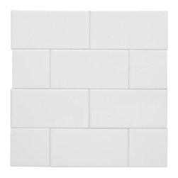 "H Line - Glossy Subway Tile - Cotton, 4""x16"", 1 Square Foot - Sold by the Square Foot"