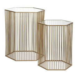 Stixx End Tables - These tables looks like architectural pieces, and I love that they do double-duty as functional side tables. Not much styling is needed for this duo!