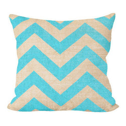 Fiber and Water - Teal Chevron Pillow - Teal Chevron pillow, add a little POP to your sofa. This hand-printed piece of art has beautiful texture from a combination of natural burlap and water-based paints. Hand-pressed onto natural burlap using water-based inks.