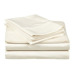 400 Thread Count Egyptian Cotton Split King Ivory Solid Sheet Set - 400 Thread Count Egyptian Cotton Split-King (also known as 'Dual King') Ivory