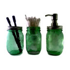 Spring Green Mason Jar Bath Set, Foaming Soap Dispenser, Toothbrush Holder - This Ball Jar bath set will add rustic charm to any bathroom. It is handmade from three new repurposed Special Limited Edition American Heritage Collection Vintage Spring Green Colored Commemorative Embossed Pint Jars.