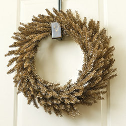"""Ballard Designs - Suzanne Kasler 24"""" Tinsel Wreath - Coordinates with Suzanne's 12"""" Tinsel Wreath, Branches & Petite Trees. 250 tips. This year, Suzanne Kasler's holiday collection is a toast to champagne. Suzanne's 24"""" Tinsel Wreath is hand crafted in a spiral of full, champagne-colored tinsel over wire.Suzanne Kasler Tinsel Wreath features: . ."""