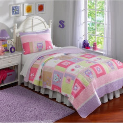 Laura Hart - Happy Owls Quilt Set Multicolor - QS8265FQ-2300 - Shop for Bedding Sets from Hayneedle.com! With its bright colors and beautiful design the Happy Owls Quilt Set will delight any little girl. With its 100% microfiber face and reverse and 94% cotton fill this owl and flower-patterned comforter is warm and soft. Available in your choice of size this set includes a quilt and two standard shams (one for twin size). Machine washable for your convenience this beautiful set is sure to be loved for years. Comforter Dimensions Twin: 86L x 68W in. Full/Queen: 86L x 86W in.About Pem America Makers of high-quality handcrafted textiles Pem America Outlet specializes in bedding that enhances your comfort and emphasizes the importance of a good night's rest. Quilts comforters pillows and other items for the bedroom are made with care and craftsmanship by Pem America. Their products cover a wide range of materials styles colors and designs all made with long-lasting quality construction and soft long-wearing materials. Details like fine stitching embroidery and crochet decorations and reinforced seaming make Pem America bedding comfortable and just right for you and your family.