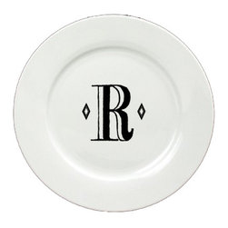 Caroline's Treasures - Letter R Initial Monogram Retro Ceramic White Dinner Plate CJ1058-R-DPW-11 - Letter R Initial Monogram Retro Ceramic White Dinner Plate CJ1058-R-DPW-11 Heavy Round Ceramic Plate White with Artwork . 11 inches in diameter. LEAD FREE, dishwasher and microwave safe. The plate has been refired over 1600 degrees and the artwork will not fade or crack.