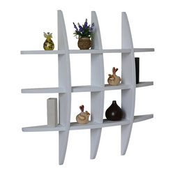 """Welland - Welland Lexington Globe Cross Display Wall Shelf, White - This cross display shelf is made from pine wood. You can hang it to create library, display and highlight a favorite collectible. Package Included: (1) Lexington Globe Wall Shelf, Size: 29.5H"""" x 4.25""""D x 29.5""""L"""