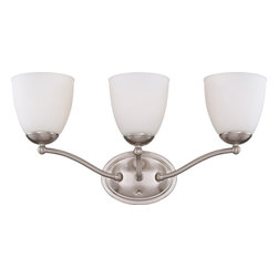 Nuvo Lighting - Nuvo Lighting 60-5033 Patton 3-Light Vanity Fixture with Frosted Glass - Nuvo Lighting 60-5033 Patton 3-Light Vanity Fixture with Frosted Glass