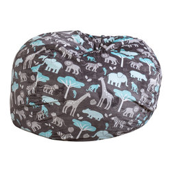 Great Deal Furniture - Ashley 3-Ft Jungle Fabric Bean Bag Chair, Teal Jungle Theme - Lounge in style with the Ashley 3-foot fabric bean bag. This unique jungle pattern and plush fabric makes this an inviting piece for any child or adult. Its microfiber jungle pattern fabric is soft to the touch and the fun colors will pop among almost any decor. Made in the United States with an eco-friendly foam filler, this bean bag offers a luxurious and comfortable option to your in home lounging experience.