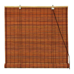 Oriental Furniture - Burnt Bamboo Roll Up Blinds - Mahogany 48 Inch, Width - 48 Inches - - Burnt bamboo roll up blinds are a versatile addition to any window.  They will fit in with any decor and are available in a wide variety of sizes.   Easy to hang and operate.  Available in five sizes, 24W, 36W, 48W, 60W and 72W.  All sizes measure 72 long. Oriental Furniture - WT-YJ1-8B6-2A-48W