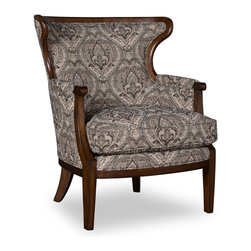 A.R.T. - A.R.T. Ava Wood Trim Accent Chair in Loden - Country classic style in modern appeal displayed with the Ava living room collection. With solid wood construction and comes in loden fabric finish, this living room furniture is sure to show off their elegance. Heavy button tufting for additional durability and added appeal, solid wood frames with classically designed subtle carvings. this will be a perfect fit for your existing living room furniture or complete your living room set with the whole Ava living room collection. A classy and elegant home decor!