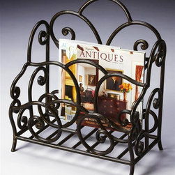 Butler - Magazine Rack in Metalworks Finish - Metalworks finish. This attractive traditional magazine rack is great either as a chairside piece or on a large table top. Its hand forged steel frame features intricate scrollwork in an aged iron finish with gold highlights. 17 in. W x 11 in. D x 19 in. H