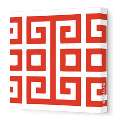 "Avalisa - Pattern - Big Square Stretched Wall Art, 28"" x 28"", Red - Bold color against white and a great big graphic — so simple, yet so powerful. You'll make a style statement wherever you hang this piece."