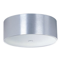ET2 Lighting - Percussion 3-Light Flush Mount - Bring simply space-age style to light. This drum fixture features frosted glass and a brushed aluminum finish to shed new light on your modern decor.