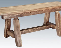 Montana Woodworks - 72 in. Hand Crafted Bench - Plank style. Heirloom quality. Edge glued panels. Solid lodge pole legs. Cross support. Timbers and trim pieces are sawn square. Rustic timber frame design. Made from American grown wood. Stained and lacquered finish. Made in USA. No assembly required. 72 in. L x 12 in. W x 18 in. H (50 lbs.). Warranty. Use and Care InstructionsSimilar to Montana woodworks half log bench but without all the weight, this six foot long plank style bench is handcrafted from solid, American grown wood. The lodge pole pine rails gives this bench that extra touch of rustic appeal and charm.