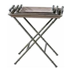 Uttermost - Brown Folding Tray Table Handles Verdigris Bronze Two Trays Home Decor - Brown unique folding iron base and tray table handles in distressed verdigris bronze with two trays home accent decor