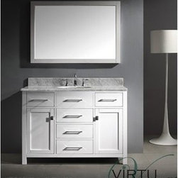 "Virtu USA - Virtu USA 48"" Caroline Single Bathroom Vanity - White - The Caroline collection has a beautiful, clean design that will rejuvenate any bathroom. It is constructed from a high quality zero-emissions solid oak wood, finished in an elegant white color and equipped with state of the art, soft closing door and drawer technology. Take notice in the beautiful 1 inch thick Italian Carrara White Marble countertop that's sheer size alone with guarantee that it will outlast the rest.Virtu USA has taken the initiative by changing the vanity industry and adding soft closing doors and drawers to their entire product line. By doing so, it will give their customers benefits ranging from safety, health, and the vanity's reliability.FeaturesMain Cabinet: 48"" W x 22.1"" D x 36.2"" HFramed Mirror: 45.7"" W x 31.5"" HItalian Carrara White Marble CountertopWhite Cabinet FinishWater Resistant Low V.O.C SealerZero Emissions Solid Oak WoodAdjustable hinges and slides2 Doors with Concealed Soft Closing Hinges5 Doweled Drawers with Soft Closing SlidesDesigner Brushed Nickel Handles with Chrome AccentBrushed Nickel Door KnobsUndermount Basin with OverflowMinimal Assembly RequiredHow to handle your counterView Spec Sheet"