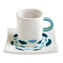Hope Johnson Ceramics - Ceramic Espresso Set - Abstract Flower In Dark Teal And Robins Egg Blue - This cup and saucer could be used to serve a beverage such as espresso, or it can just be a cute decoration.