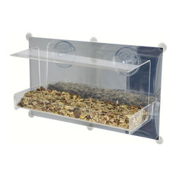 Songbird Essentials - Clear View Deluxe Open Diner Mirrored Window Feeder - Up close and personal bird watching. Great for introducing children to birding. Easy-to-fill open tray holds 4 cups of seed. Covered roof provides all-weather feeding. Constructed of heavy, clear acrylic. 2 large suction cups attach securely to window.