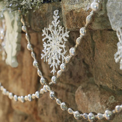 Ballard Designs - Suzanne Kasler Silver Mercury Glass Garland - Lace through your holiday arrangements. Antique silver finish. Jewelry for your tree, mantel or chandelier. This shimmering mercury glass garland designed by Suzanne Kasler has all the romantic vintage look of antique silver. Balls and elongated beads are joined with figured metal caps for an added layer of visual texture.Mercury Glass Garland features: . .