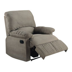 "Coaster - Recliner (Sage) By Coaster - Curl up with your favorite blanket and snuggle into the supreme plush comfort of the Coaster Micro Recliner. This recliner is like a little package of soft, pillowy goodness. Upholstered in easy-to-clean microfiber, not only is this chair comfortable and easy-on-the-eye, it will resist stains and clean up nicely in a snap. A recessed external handle for reclining adds functionality without compromising style. Available in a variety of muted colors, this chair's casual style will complement a number of different decors. Chair measures 35""W x 35""D x 40""H inches."