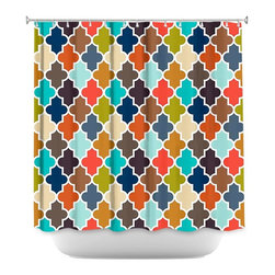 DiaNoche Designs - Shower Curtain Artistic - Earthy Quatrefoil - DiaNoche Designs works with artists from around the world to bring unique, artistic products to decorate all aspects of your home.  Our designer Shower Curtains will be the talk of every guest to visit your bathroom!  Our Shower Curtains have Sewn reinforced holes for curtain rings, Shower Curtain Rings Not Included.  Dye Sublimation printing adheres the ink to the material for long life and durability. Machine Wash upon arrival for maximum softness on cold and dry low.  Printed in USA.