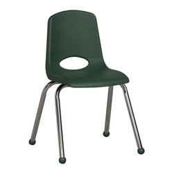 "Ecr4kids - Ecr4Kids Kids Classroom 16"" Stack Chair - Chrome Legs Hunter Green With Glide, 6 - Innovative school stack chair features molded seat with vented back has reinforced ribbing in back and under seat for strength, and 16 gauge tubular steel legs with steel lower back support. Full MIG welded frame. No penetration through the seat surface. SuperGlide composite ball glides for durability and protection on hard floors and carpet. Our school stack chairs QUICK-ship Available in scratch-resistant chrome in 8 popular colors."
