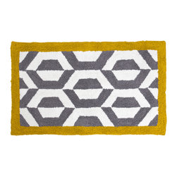 "Jonathan Adler - Jonathan Adler Ponti Bath Rug - Chic is made simple with Jonathan Adler's artistic Ponti bath mat. This graphic floor covering boasts gray and white geometric lines with a mustard yellow border for contemporary pop. 21""W x 34""L; 100% cotton; Tufted and loop"