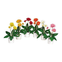 Nearly Natural - Gerber Daisy with White Vase (Set of 6) - Not for outdoor use. Great assortment of stunning hues. Each plant contains three bursting stems. The perfect accent for your work space. . Included container size: 4 in. W X 3.25 in. H. Made of: Polyester material, Ceramic vase8 in. W X 6.5 in. D X 12 in. H (5.5lbs)Bold yet innocent, these Gerber daisy blooms are guaranteed to brighten up any drab office cubicle. An assortment of stunningly beautiful hues makes them the perfect accent for your work space decor. Each plant contains three bursting stems surrounded by a flock of lush green foliage. A white ceramic vase adds further appeal to these South African beauties. Shipped in groups of six, they're certain to enliven your entire office or home.