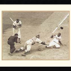 Amanti Art - Jackie Robinson Stealing Home, May 15, 1952 Framed Print by Nat Fein - Remember the good old days with this timeless photo of Jackie Robinson Stealing Home. This art piece is great for baseball fans of all ages.