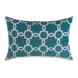 Spencer N. Enterprises - Linked Tile Teal Oblong Toss Pillow - Liven up any room in your home with this classic linked-tile pattern toss pillow. Its beautifully textured fabric and lush color will add just the right visual pop to your home's décor.
