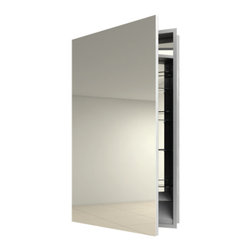 Electric Mirror - Simplicity Left Surface Medicine Cabinet - Simplicity Left Hinge Surface Mount medicine cabinet available in right or left hinge, recessed or surface mount, and with or without defogger. Available in satin finish. Designed for humid bathroom environments. Small: 19.25W x 40H x 4D. Large: 23.25W x 40H x 4D. Comes with defogger.